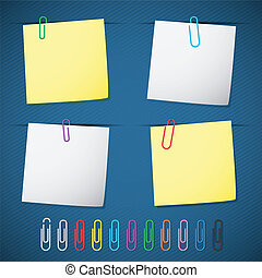 notepad - set of blank paper notepads and clips on dark blue...