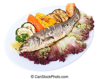 seabass - baked seabass with vegetables on white dish and...