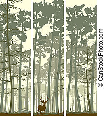 Banners of deer in wood. - Vertical abstract banners of wild...