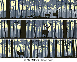 Banners of wild animals in wood - Horizontal abstract...