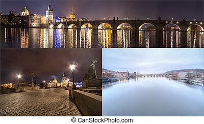 Collage landmarks of Prague