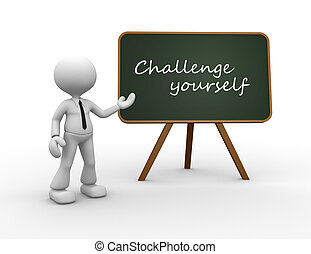 Challenge yourself - 3d people - man, person with a...