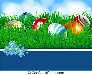 Easter eggs and ribbon - Easter eggs Spring background with...