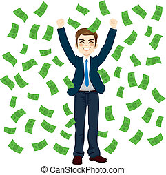 Raining Money Businessman - Successful young businessman...