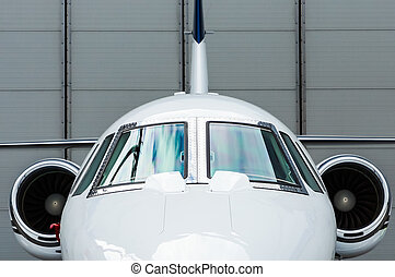 Private Jet in hangar - Luxury Business Private Jet plane at...