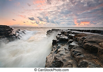Monknash beach, Wales, UK - High tide on the Monknash beach...