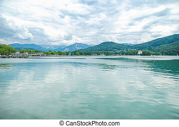 Lake Woertheree Austria, Carinthia - Panorama of Lake...