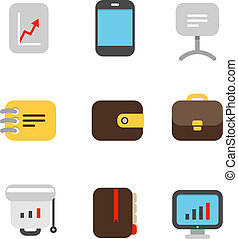Different color business icons set. Design elements