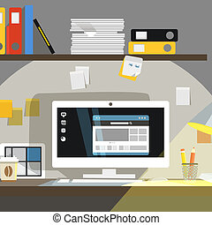Interior, trabalhando, lugar