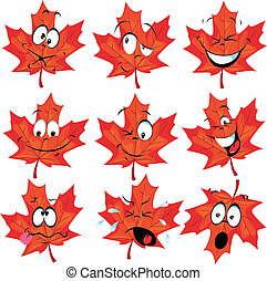 red maple leaf mascot with many expressions