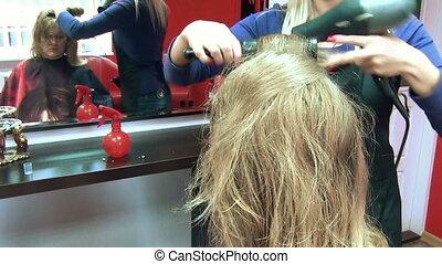 barber salon dry hair - hairdresser barber blow dry customer...