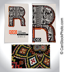 Ancient Business card design LETTER R