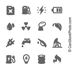 Energy Icons - Simple set of energy related vector icons for...