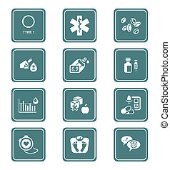 Diabetes icons | TEAL series - Diabetes health-care life...