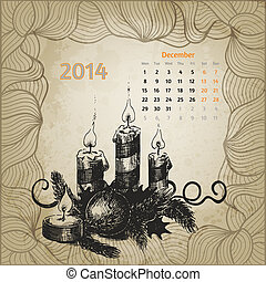 Artistic vintage calendar for December 2014 Winterberry, fir...