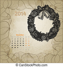 Artistic vintage calendar for December 2014 Christmas wreath...