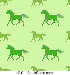 Vector seamless pattern with colorful green horses on...