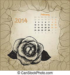 Artistic calendar with ink pen hand drawn rose for February 2014. One card of botanical series calendar.