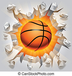 Basketball ball and cracked wall. - Basketball ball flying...