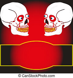 two skull on a black background