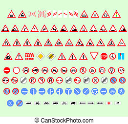 traffic signs - set of traffic signs for drivers different...