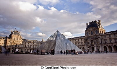 Louvre Museum. Paris, France. Time Lapse. - Louvre Museum is...