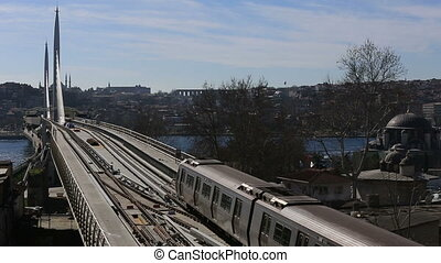 metro train bridge and station 7 - metro train passing and...