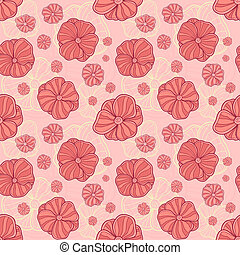 Doodle flowers vector seamless pattern