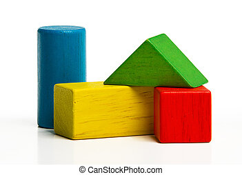 toy wooden blocks, multicolor building construction bricks...