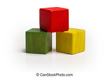 toy wooden blocks stack, pyramid of blank multicolor box cube over white background