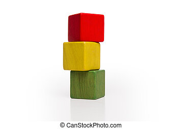 toy wooden blocks stack, tower of blank multicolor box cube over white background