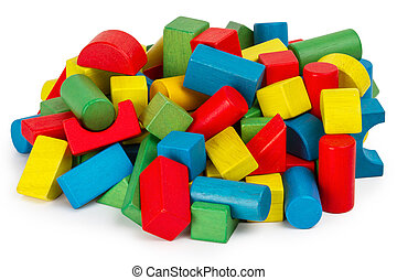 Toy blocks, multicolor wooden building bricks, heap of colorful game pieces