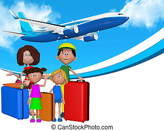 3d cartoon family going on  vacations