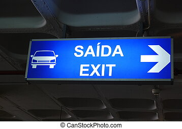 Exit sign on airport
