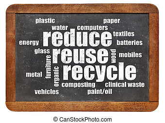 reduce, reuse, recycle word cloud on a vintage blackboard