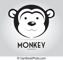 Monkey design over background, vector illustration