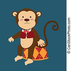 Monkey design over blue background, vector illustration