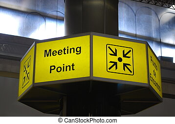Meeting point sign on airport