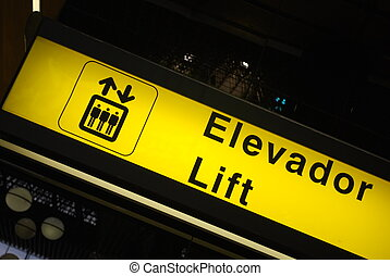 Lift/Elevator sign on airport
