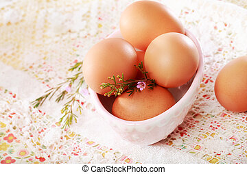 Brown Eggs in a porcelain bowl
