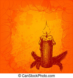 Colorful vector card with a candle and fir tree needles