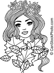 Black and white outline girl with fall leaves illustration....