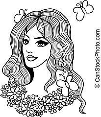 Black and white vector illustration. Beautiful girl with flowers and butterflies