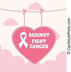 Cancer campaign design over white background, vector...