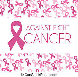 Cancer campaign design over pattern background, vector...