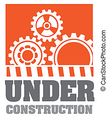 Under construction design over orange background, vector...