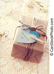 Gift Box with heart-shaped tags - Thinking of you message...