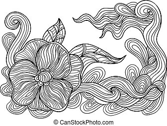 Black and white outline vector drawing. Floral doodle.