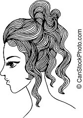 Elegant girl profile. Vector illustration for Your design
