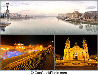 Famous Places in Budapest, Hungary collage background